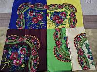 Шелковый платок, головной женский платок «Колосок» 73*73 см