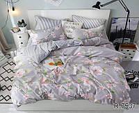 Полуторный комплект постельного белья ТМ TAG Яблочный цвет ранфорс / комплект постільної білизни