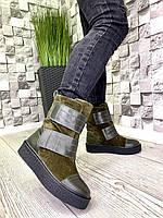Женские ботинки из натуральной кожи и замши хаки зима, фото 1