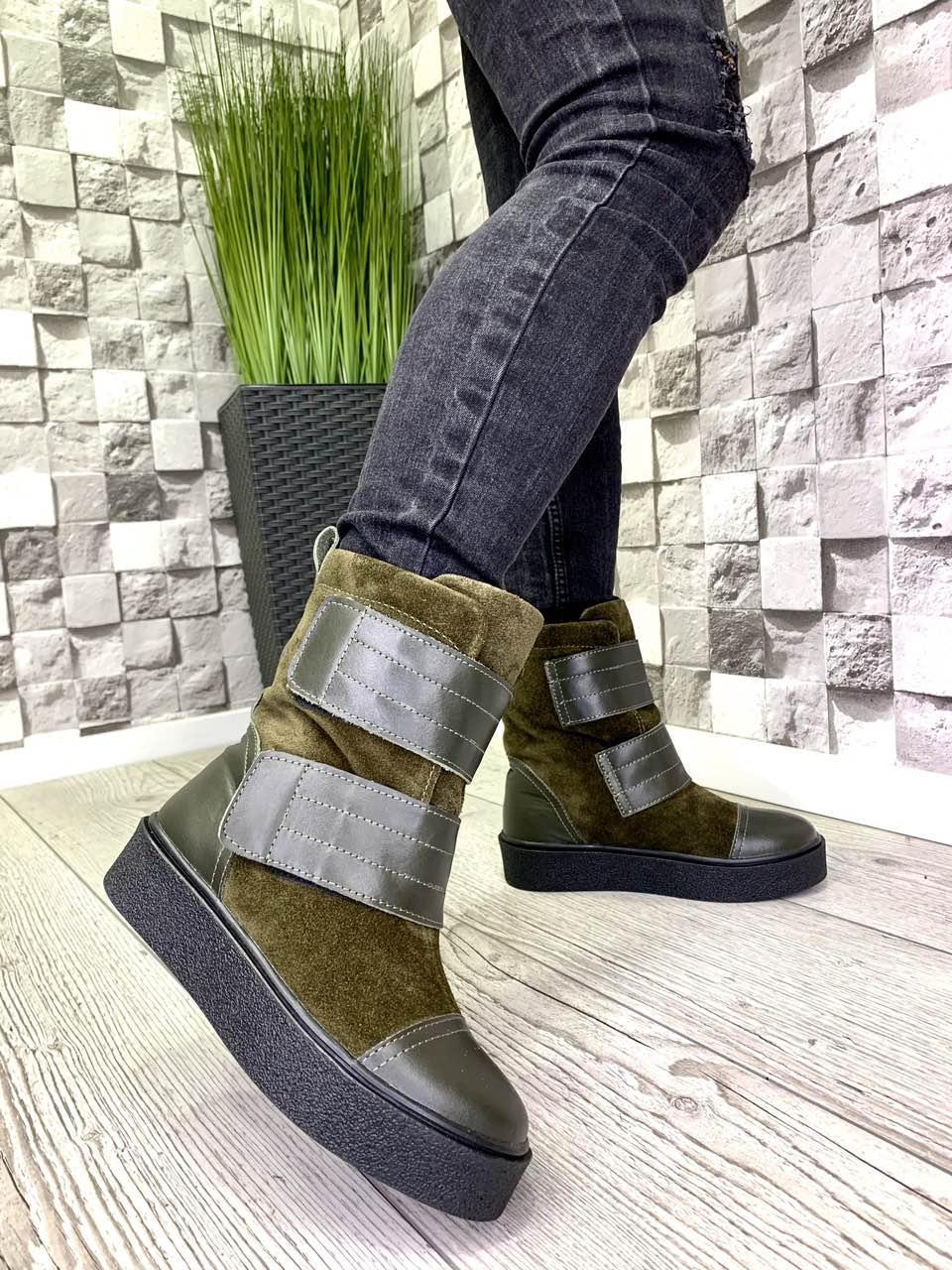 Женские ботинки из натуральной кожи и замши хаки зима