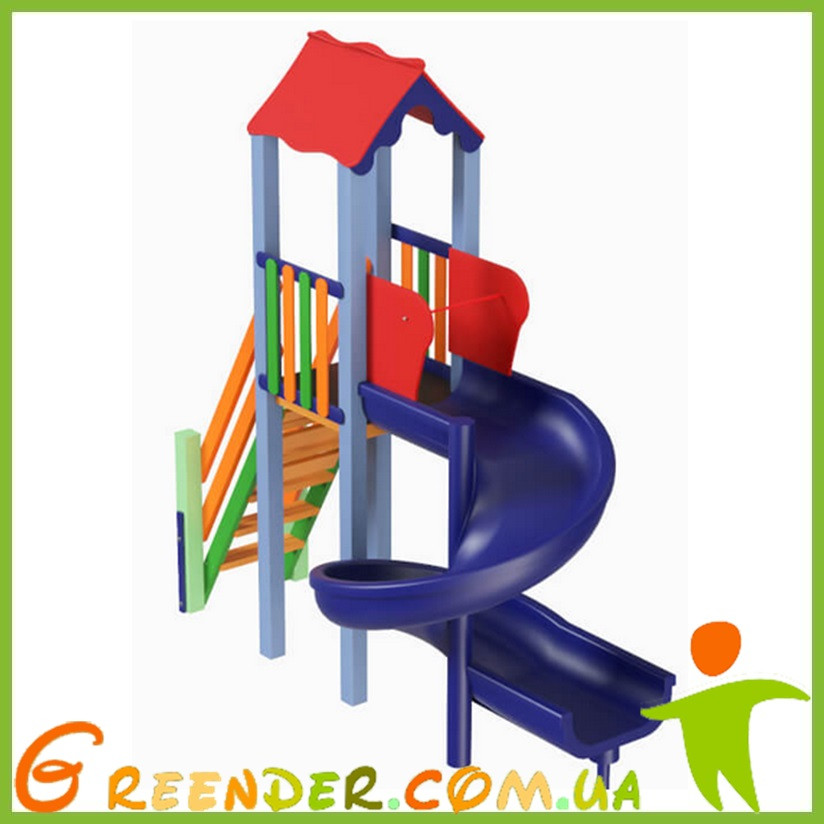 Детский комплекс Мини с пластиковой горкой Спираль