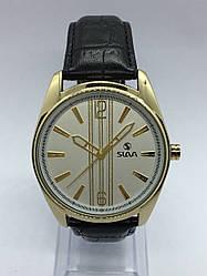 Часы Slava кварцевые черный/золото кожаный ремешок