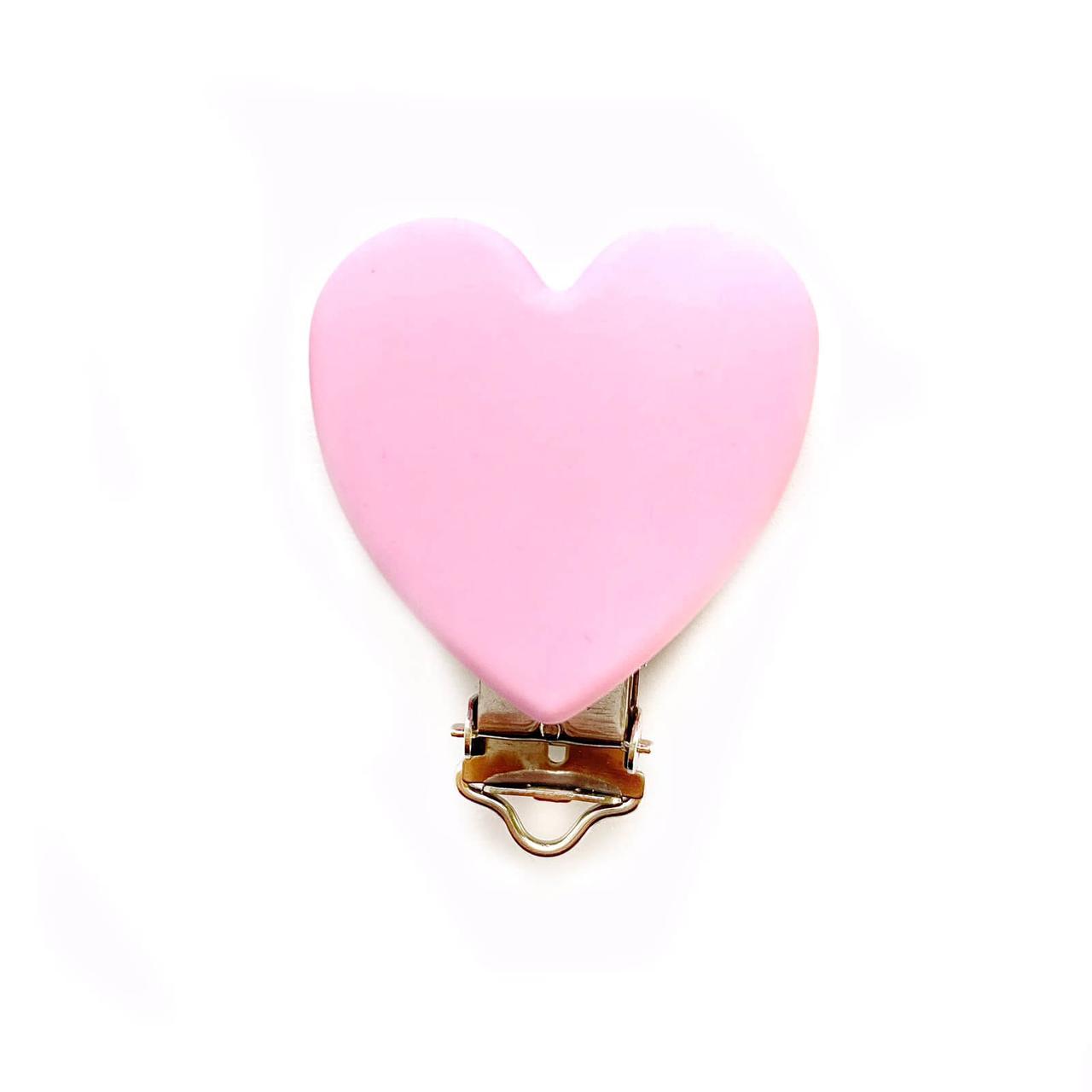Клипса Сердце (Пейл пинк) силиконовая для пустышки