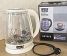 Электрический чайник стеклянный 2л OPERA с цветком ТуТ TyT, фото 5