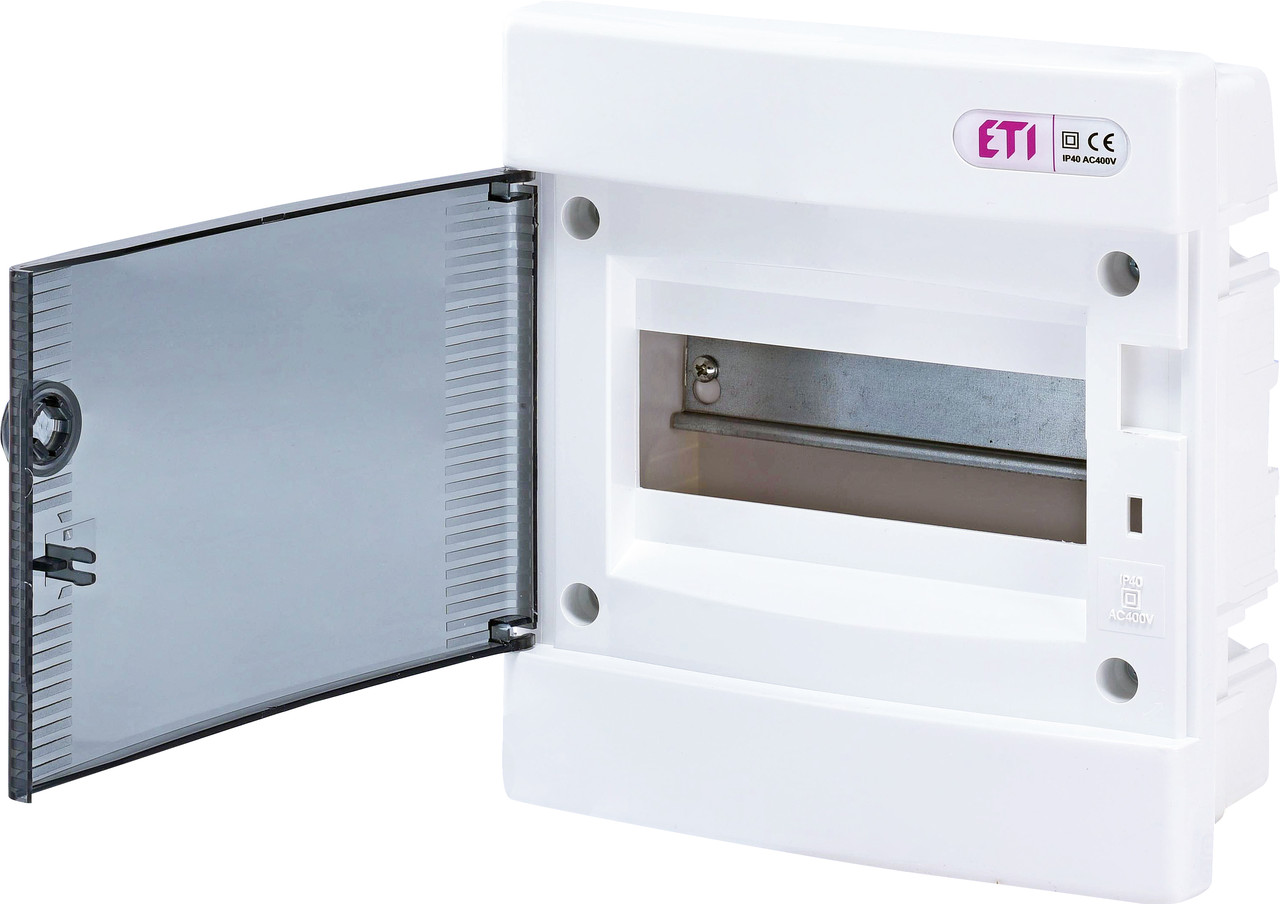 Встраиваемый щит IP40 ETI ECM-8PT 8 модулей 1101010 (распределительный, модульный, с прозрачной дверцей)