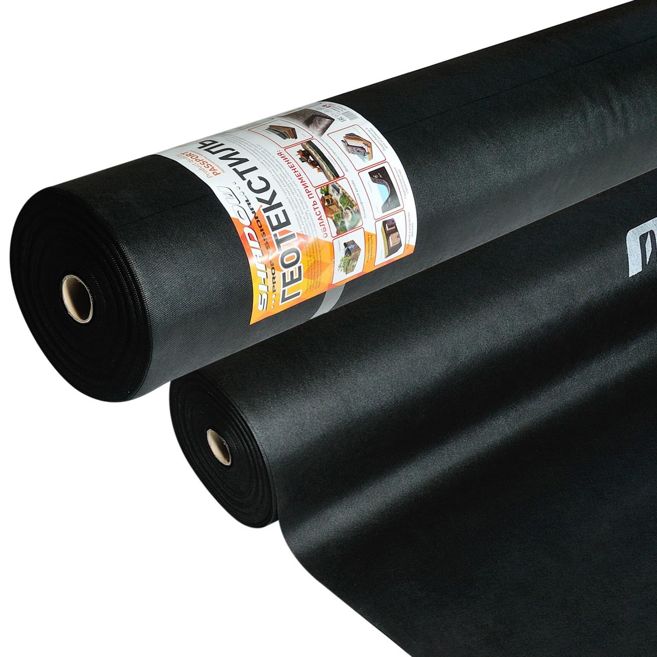 Геотекстиль 110 г/м² черный 1.6 х 50 метров
