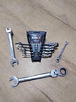 Набор ключей с трещеткой на кардане BLACK : 8 шт | Cr-V