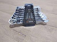 Набор рожково-накидных ключей с трещеткой на кардане BLACK : 8 шт | Cr-V