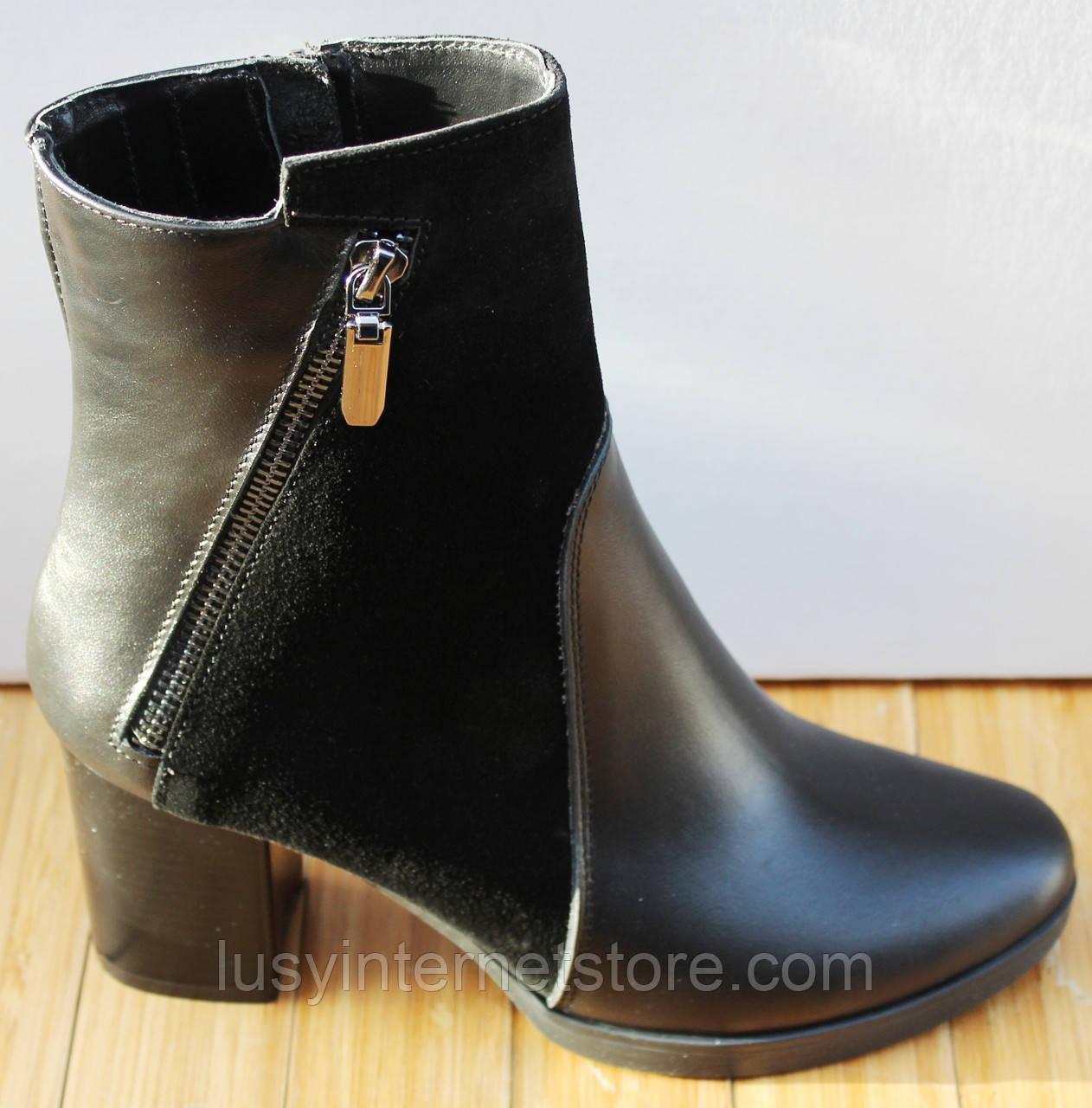 Ботинки женские черные демисезонные на каблуке от производителя модель СК109