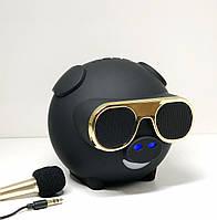 Портативная колонка Свинка Bluetooth с караоке и FM радио М60 Черная