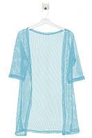 """Легкий кардиган ажурной вязки """"сеточка"""", рукав 7/8 для девочки (164-176 cм). Цвет голубой. Бренд NRV."""