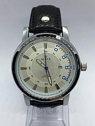 Часы Slava кварцевые черный/серебро кожаный ремешок