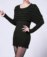 Трикотажное черное платье мини