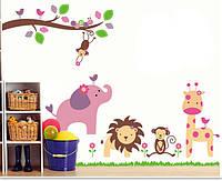 Дитяча наліпка на стіну Звірятка / Детская наклейка на стену Зверята AY869