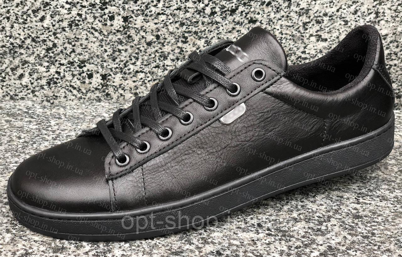 Мужские кеды кожаные черные на шнурке демисезонные летние Ecco copy, кеды мужские из натуральной кожи