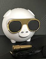 Портативная колонка Свинка Bluetooth с караоке и FM радио М60 Белая