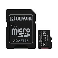Карта памяти MicroSDXC 64GB UHS-I Class 10 Kingston Canvas Select Plus R100MB/s + SD-адаптер (SDCS2/64GB)