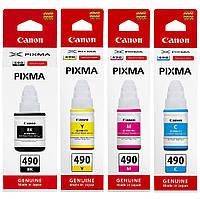 Набор оригинальных чернил Canon для Pixma G1400/G2400/G3400 GI-490 B/C/M/Y (SET490C)