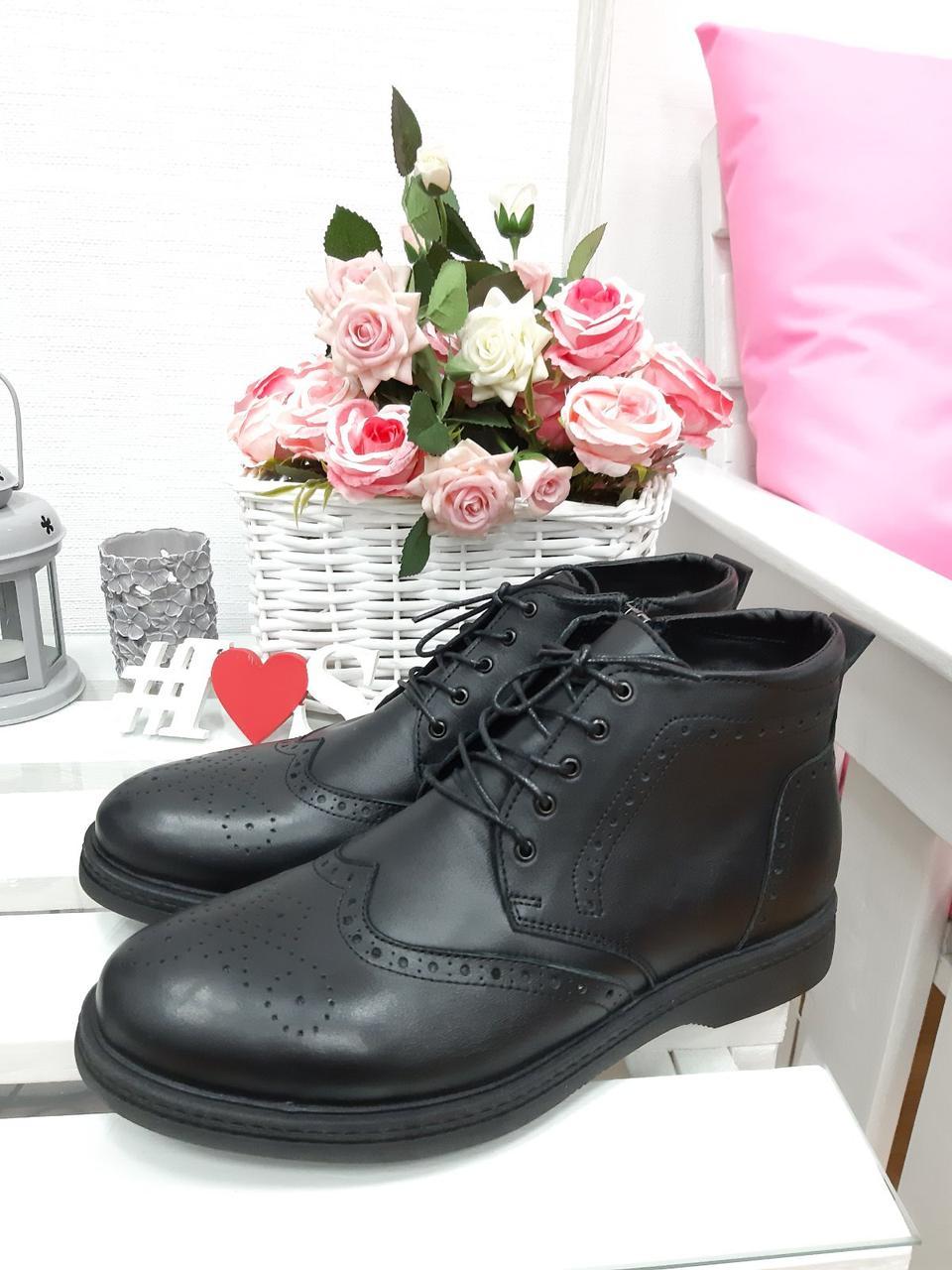 Чорні зимові чоловічі черевики натуральна шкіра