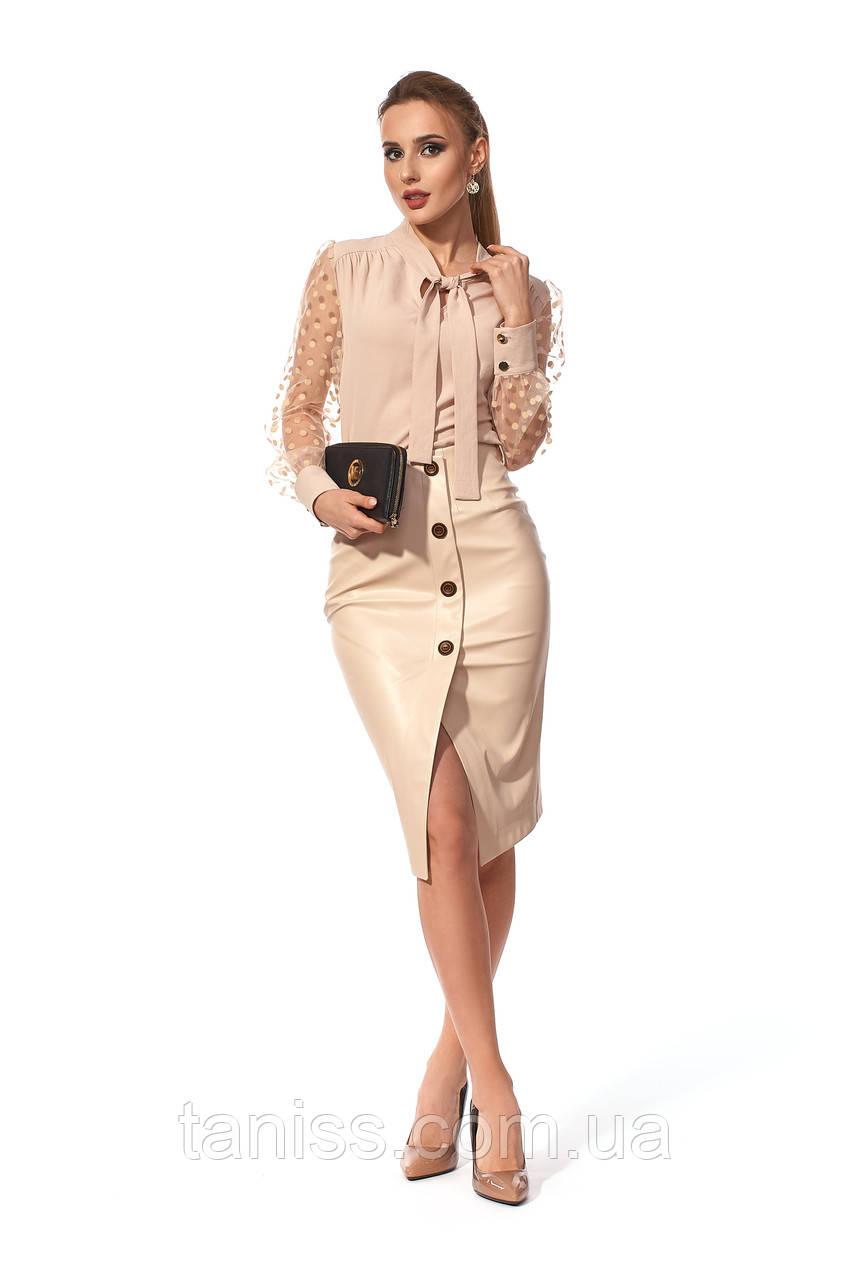 Женская,стильная,офисная,вечерняя юбка, ткань эко кожа, размеры 42,48 ( 238.2) бежевый,спідниця