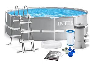 Каркасний басейн Intex 26716 (366 x 99 см) сходи і насос