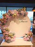 """Круглая Фотозона на крестины с живыми цветами """"Розовая гортензия"""""""