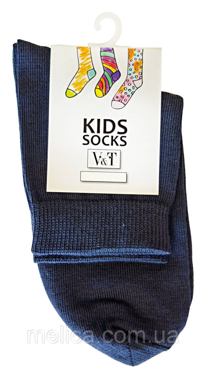 Носки детские Kids Socks V&T comfort ШДУг 024-0489 Однотонные Школьные р.22-24 Темно-серый