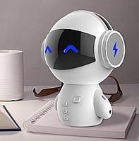 Портативная колонка Робот Bluetooth с караоке М10 Белая