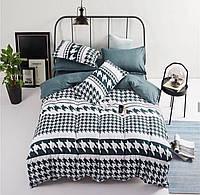 Комплект постельного белья Черно-Белый Орнамент, евро размер 4 наволочки