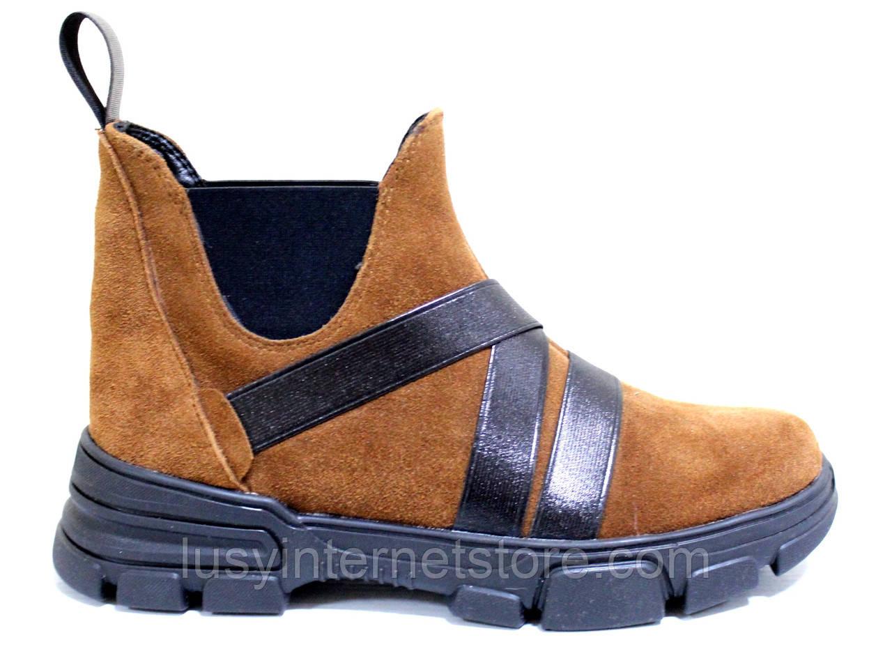 Челсі жіночі замшеві туфлі на платформі від виробника модель СА3030-2