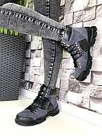 Женские кожаные ботинки демисезон серые, фото 1