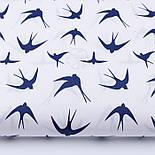 "Лоскут ткани ""Ласточки"" синего цвета на белом (№2334а), размер 79*34 см., фото 2"