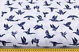 "Лоскут ткани ""Ласточки"" синего цвета на белом (№2334а), размер 79*34 см., фото 3"