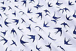"Лоскут ткани ""Ласточки"" синего цвета на белом (№2334а), размер 79*34 см., фото 5"