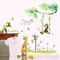 Інтер'єрна наліпка на стіну Дівчинка на Качелі / Детская Интерьерная наклейка Девочка на качелях (AY9194)