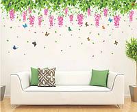 Інтер'єрна декоративна наліпка на стіну Квіти / Интерьерная наклейка на стену Цветы (XY1132)