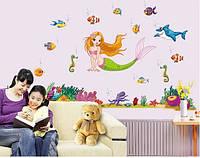 Інтер'єрна декоративна наліпка на стіну Русалонька / Детская Интерьерная наклейка Русалочка (JM7292)