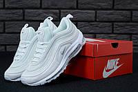 Мужские кроссовки Nike Air Max текстильные демисезонные найки на шнуровке белого цвета, ТОП-реплика, фото 1