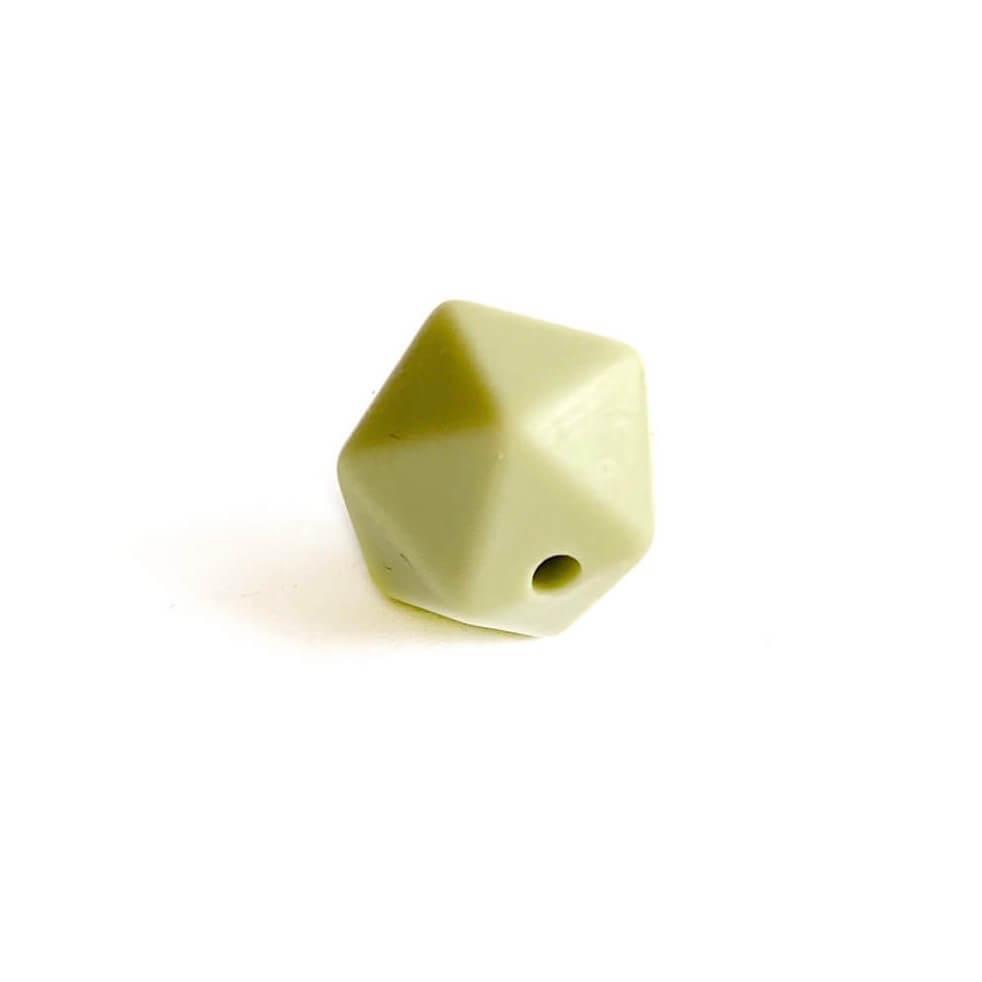 Мини икосаэдр (хаки) 14мм, силиконовая бусина
