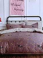 Комплект постельного белья Клетка и Желтый Горох, евро размер 4 наволочки