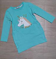 """Туніка дитяча з кишенями для дівчинки """"Pony"""" 3-6 років, бірюзового кольору"""