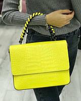 Очень красивая итальянская сумка натуральная кожа, Croco Embo, Bella Bertucci Желтый