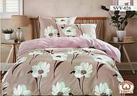 Постельный комплект двухспальный 175х215 хлопок Пенелопа бежевый цветы