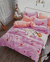 Комплект яркого постельного белья с вишнями, евро размер 4 наволочки