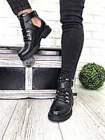 Женские кожаные ботинки демисезон черные, фото 1