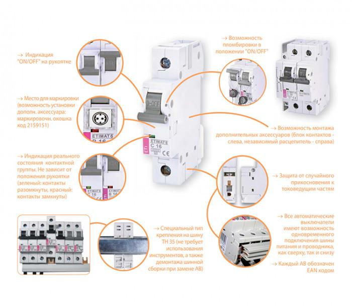 Автоматический выключательST-68 ETIMAT 4.5  АС_4,5кА 1, 63, С