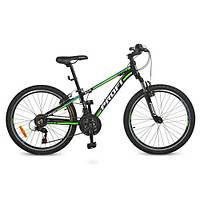 Спортивный велосипед Profi 24 Д G24A315-L-1B черно-салатовый