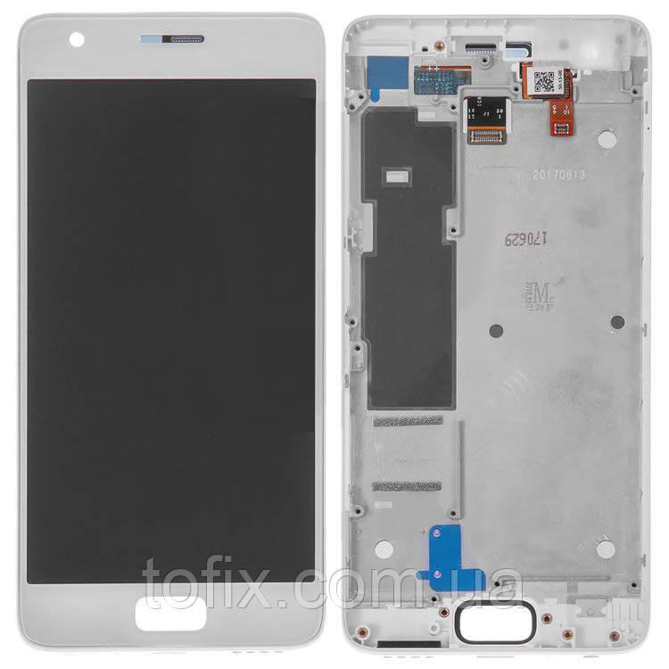 Дисплей для Lenovo Zuk Z2, Zuk Z2 Plus (Z2132,Z2131), модуль (экран и сенсор), с рамкой, белый, оригинал