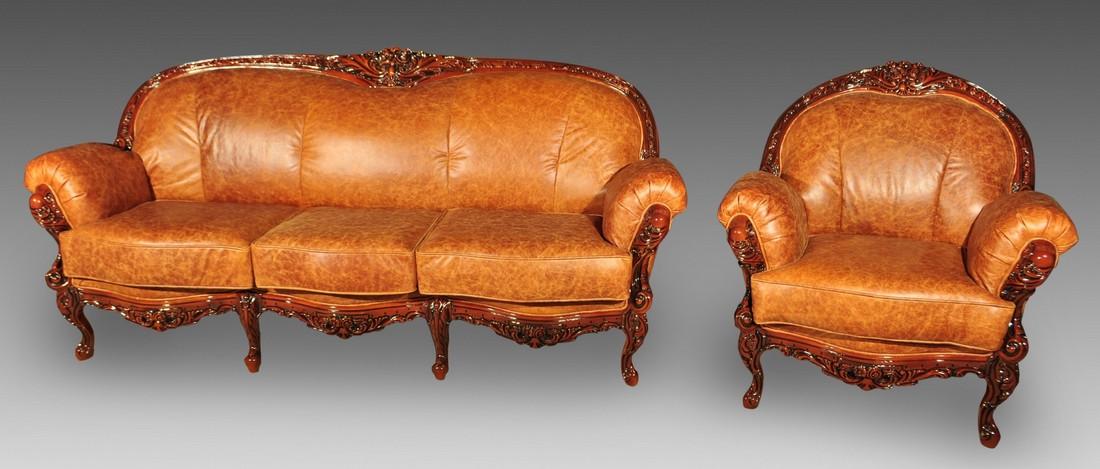 Комплект мягкой мебели Ника (кожа) Курьер