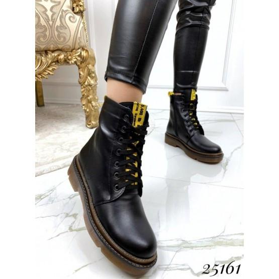 Женские черный кожаные деми ботинки off-white, жіночі демі черевики чорні шкіряні, нат кожа